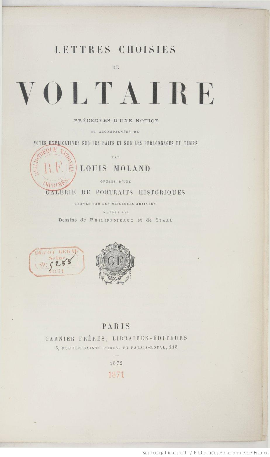 Lettres choisies de Voltaire, Voltaire