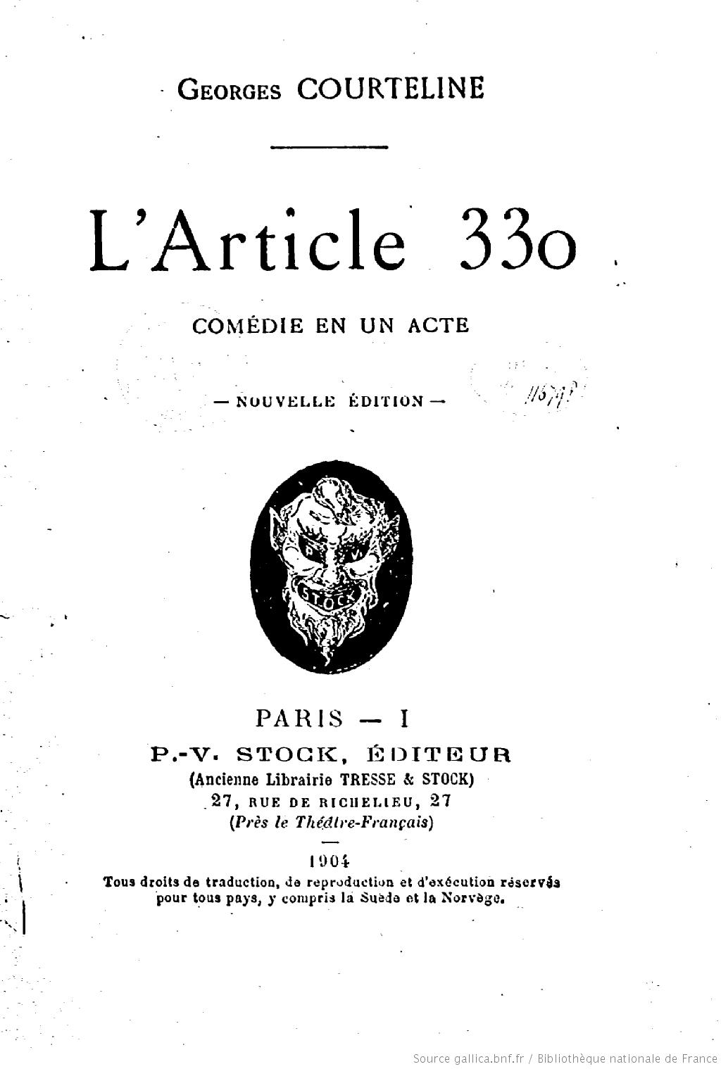 L'Article 330, Courteline, Georges (1858-1929)