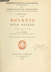 Sonnets pour Hélène, Ronsard, Pierre de (1524-1585)
